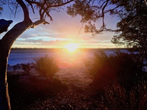 Sunset at a salt lake near Fraser Range.Travelling Family Australia