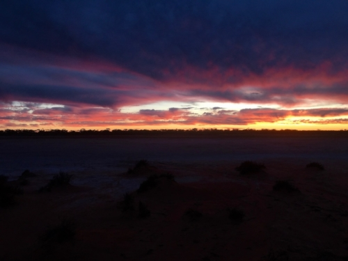 Sunset at a salt lake near Fraser Range.Travelling Family Australia