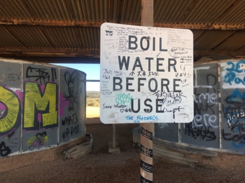 Water is very limited - water tank on the Nullarbor.Travelling Family Australia