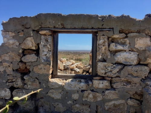 Can you spot our car and caravan? Right on the horizon, in the middle of the window! Yalata Homestead Ruins, on the way to Fowler's Bay.Travelling Family Australia